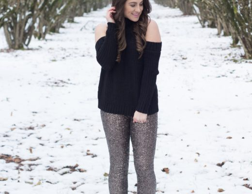 A cold shoulder sweater and sequin pants make the perfect look for a date night or holiday.