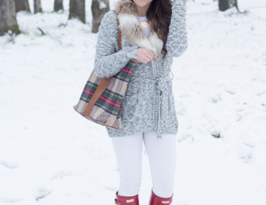 Walking in winter with a faux fur cardigan sweater, red hunter boots, and the best monogram plaid tote.