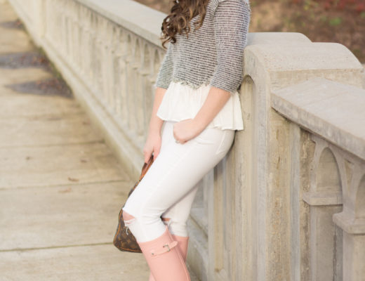 The perfect blue and white striped peplum fuzzy sweater paired with white ripped denim and blush pink Hunter boots.