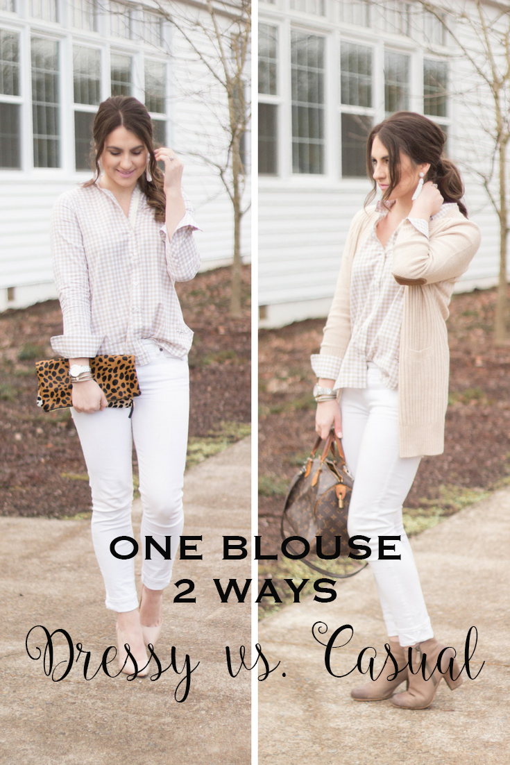 How to style a simple button up dressy and casually!