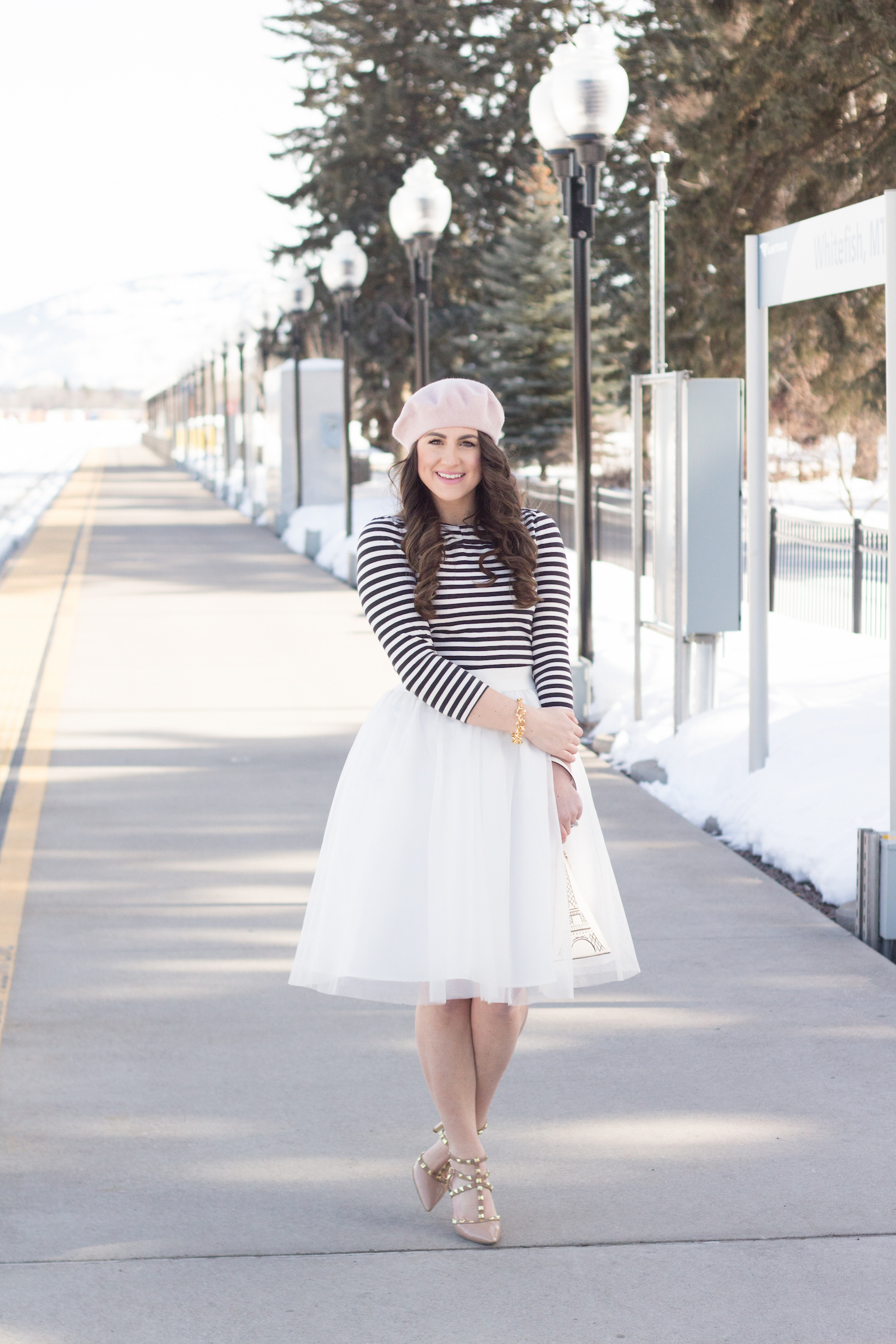 Trying out the best Parisian flair with a tulle skirt and beret.