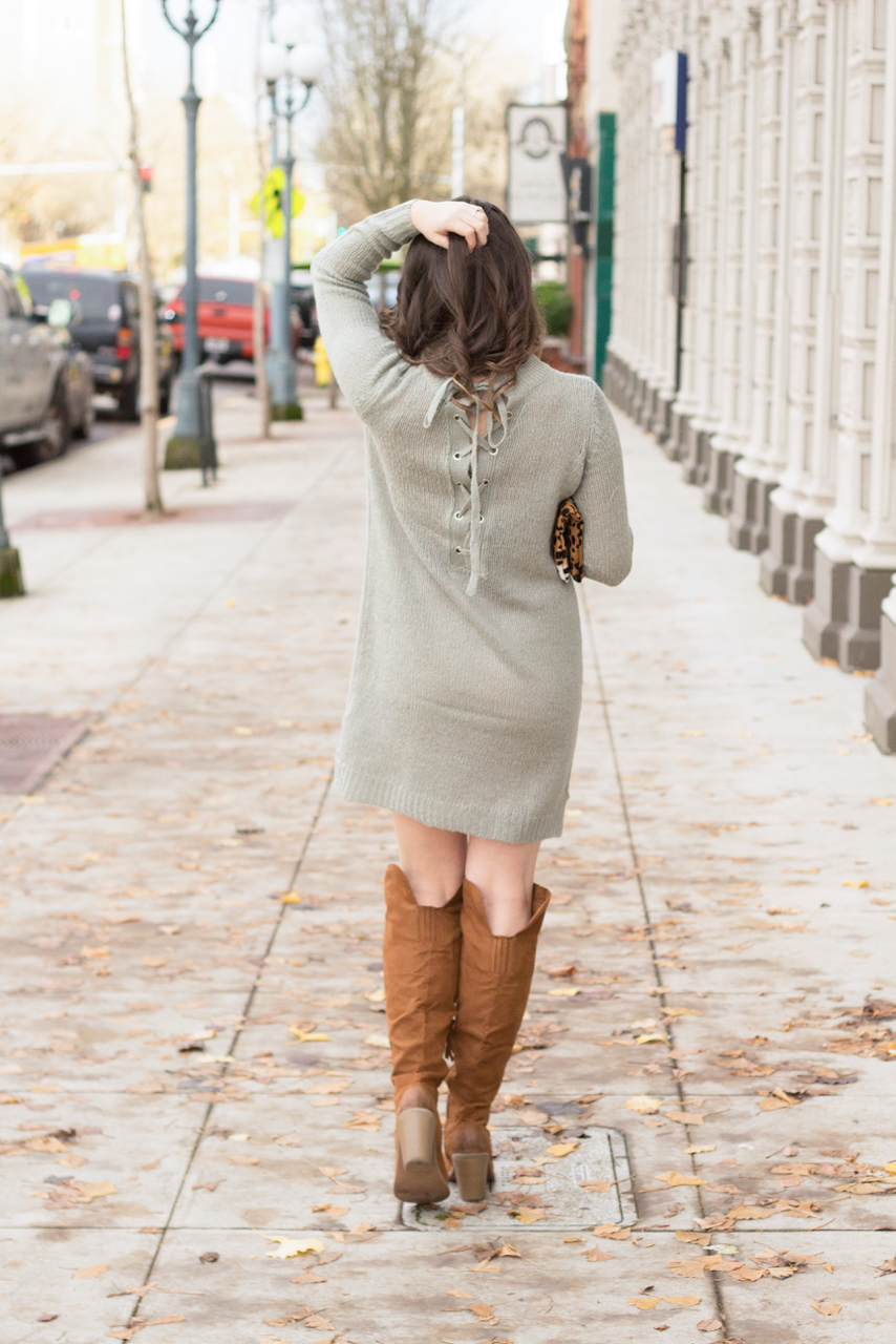 Winter is the perfect time for sweater dresses, this one is even cuter in the back!