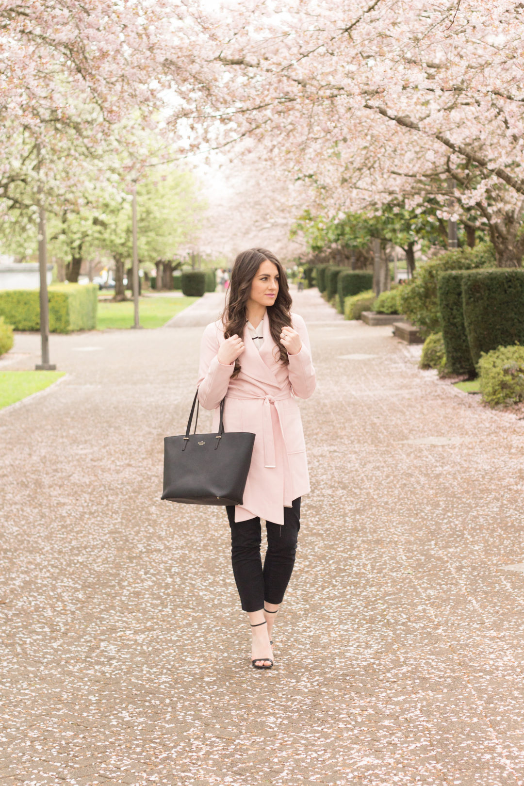 Black dress saying - Business Casual In A Blush Trench And Cute Black Dress Chinos
