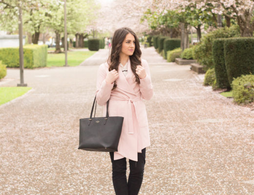 Business casual in a blush trench and cute black dress chinos.