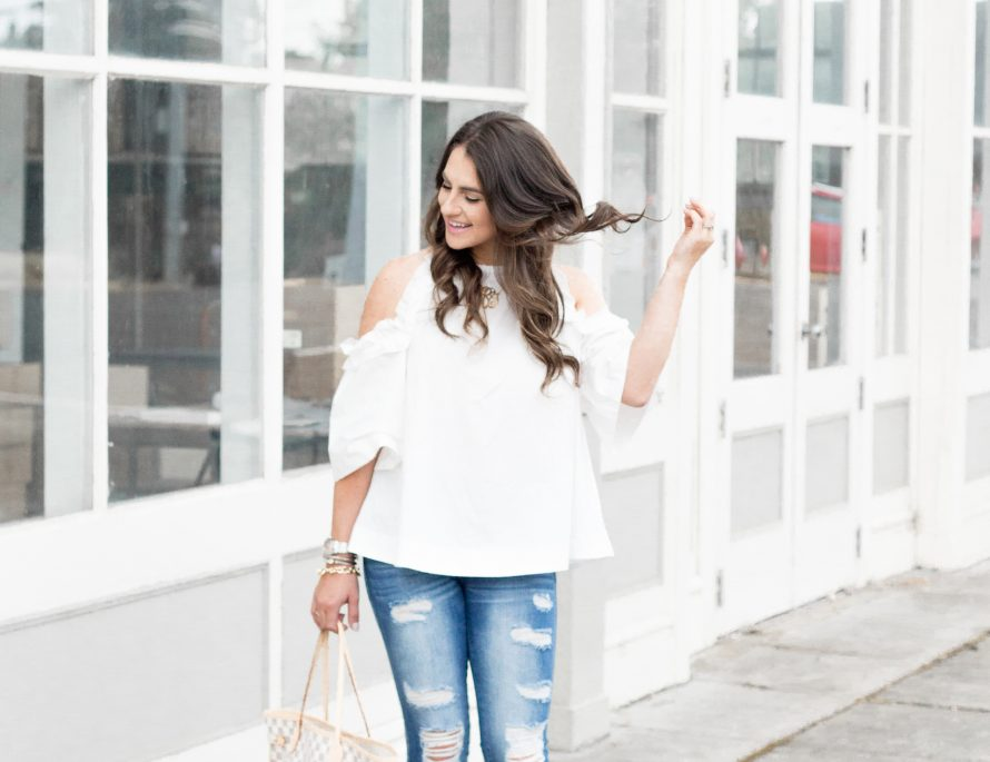 Cold shoulder top with bows on my toes for the Fall.